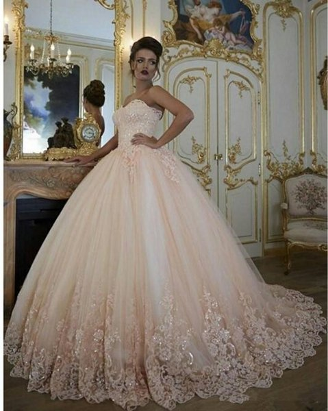 Без рукавов шампанского бальное платье Свадебные платья с бисером Аппликация Милая шеи Длина пола принцесса свадебные платья с корсета