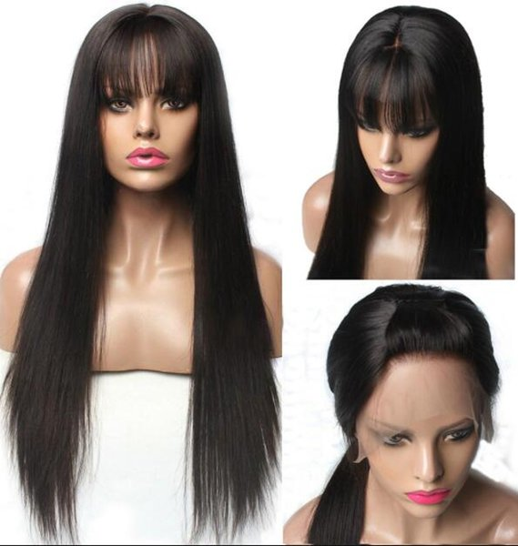 Celebrity Wig Bang Lace Front Wig Silky Straight Natural Color 10A Grade Malaysian Virgin Human Hair Full Lace Wigs for Black Women