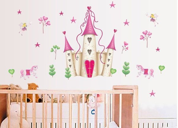 New Arrival Removable Pink Princess Castle Girl Room Tower Wall Sticker For  Girls/Kids/Children Bedroom Wall Mural Kids Wall Decals Kids Wall Decor ...