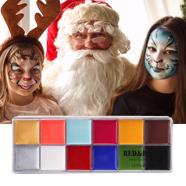 RedBlack pittura del corpo gioca pagliaccio Halloween trucco faccia vernice 12 Colore Bodyface verniciato trucco Flash Tattoo pittura ad olio