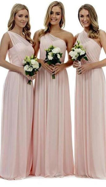 2019 Blush Pink, un hombro, vestidos de dama de honor, una línea de gasa, pliegues, hasta el suelo, vestidos de dama de honor para las bodas campestres de verano