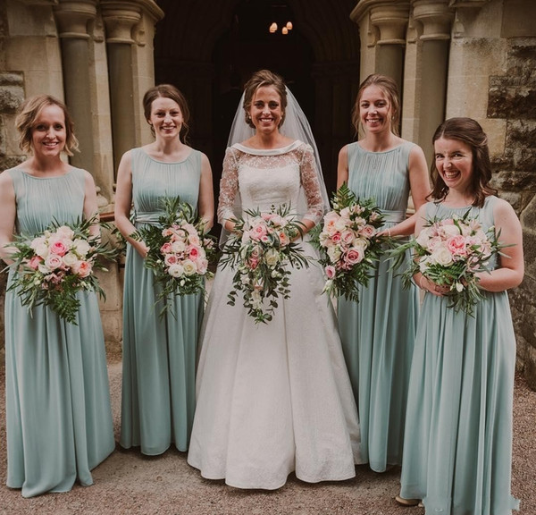 Country Sage Bridesmaid Dresses 2019 Jewel Floor Length A Line Draped Chiffon Summer Garden Beach Wedding Guest Gowns Maid Of Honor Dress