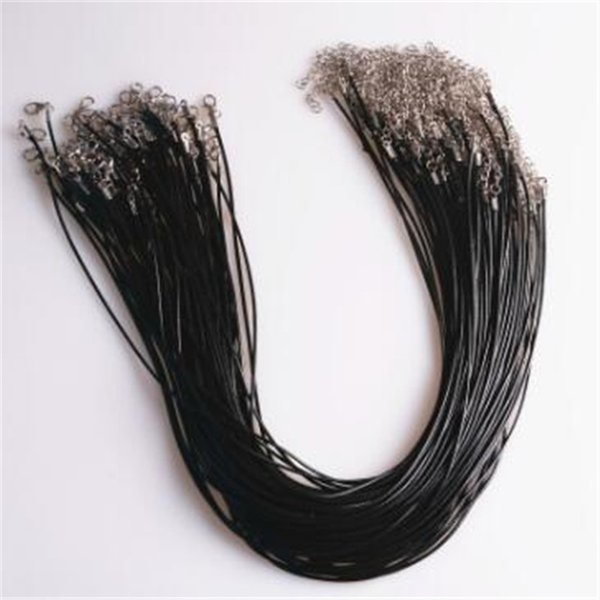 50pcs/set DIY Black Leather Wax Rope Cord 45cm Necklace Chain String Strap Rope Clasp Jewelry Chains Accessories