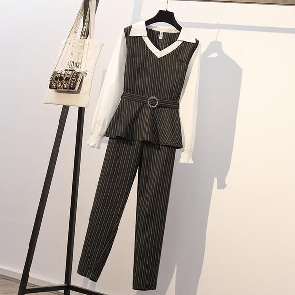 2019new Прибытие Костюм Весна Новое Корейское Жирное Mm Plus Удобрение, чтобы Увеличить Мода OL Color Matching Stripe Тонкий Костюм с XL-5XL Доступно