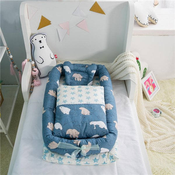 Cama infantil de co-dormir Portátil cuna de bebé 95 * 50 * 15 cm (37 * 19 * 6in) 3PCS / Set Cama plegable de viaje de guardería para cuidado de bebés