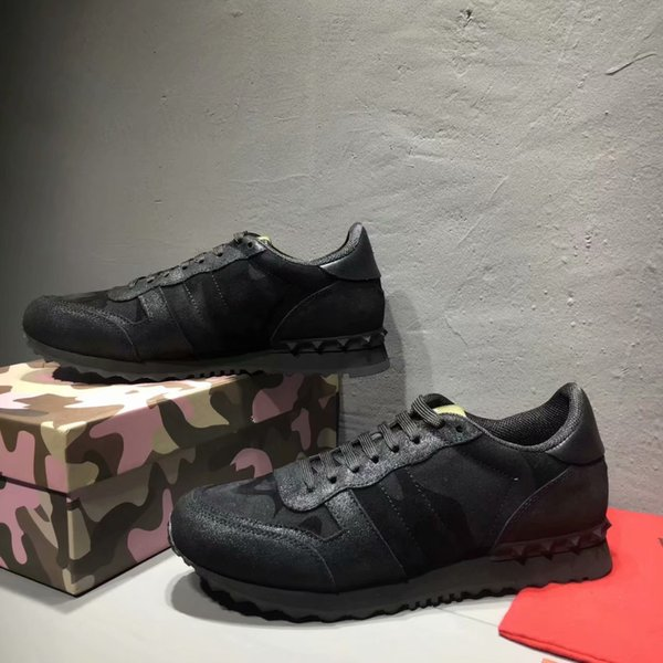 Tamaño 35-46 Mujeres Hombres zapatos casuales camuflaje cuero genuino con cordones pareja zapatos estrella remaches unisex zapatos planos Azul Negro envío gratis