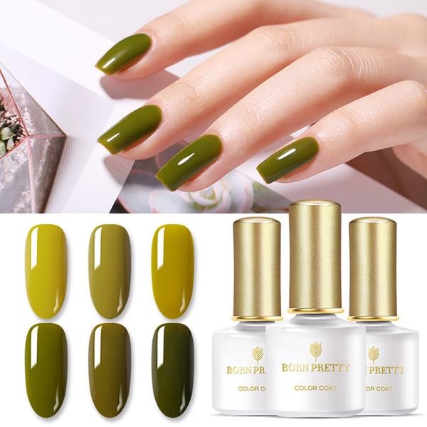 Born Pretty 6ml Nail Gel Polish Olive Green Color Series Spring Tender Green Pure Color Soak Off Nail Art Gel Varnish At Home Gel Manicure Gel Nail