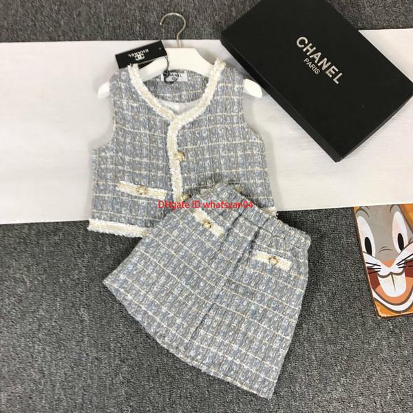 NewGirls комплект жилетов детская дизайнерская одежда жилет куртка + юбка 2шт грубая тканая шерсть материал материал комплекты осень комплекты юбка