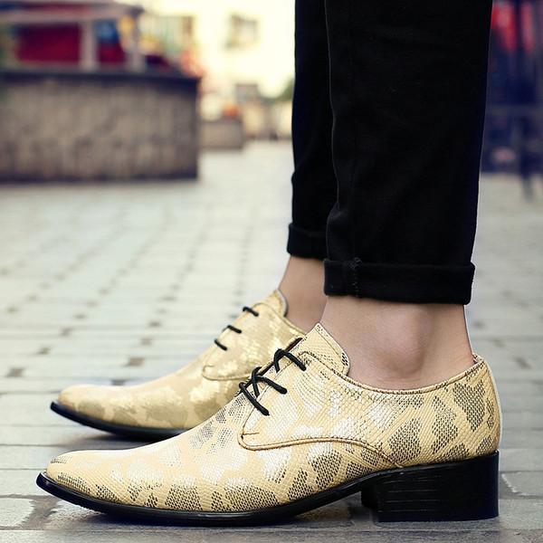 2019 Nova Listagem Marca Snakeskin Sapatos De Couro Dos Homens de Luxo Mens Vestido Sapatos Impresso Negócios Oxfords Formal Dos Homens Tamanho 38-44