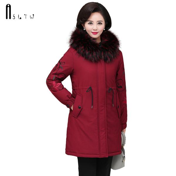 Chaqueta de las mujeres del invierno ASLTW nueva llega la manga larga más la capa con la capa de las mujeres de piel con capucha Parka larga de algodón Tamaño