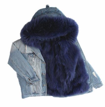 Dugujunyi 2019 autunno inverno giacca cappotto donna fori giacca di jeans reale grande collo di pelliccia di procione e vera pelliccia di volpe spessa linea calda