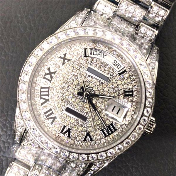 top popular Calendar Full diamond 41mm 18k luxury watch automatic movement sapphire mens watches designer Wristwatches top quality 316 Stainless steel 2019