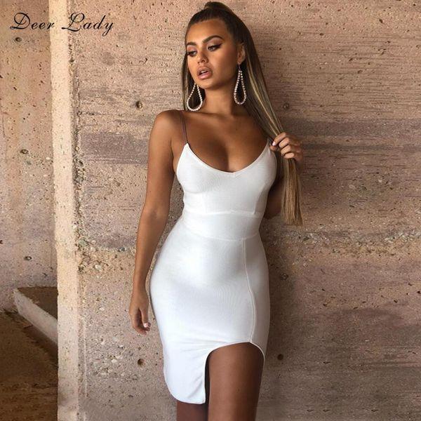 Deer Lady Vestidos Bandage Dress 2019 New Arrivals Women v neck Bandage Dress white Sexy Bodycon Evening Party Club