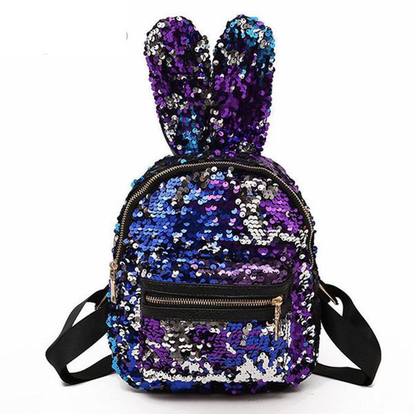 Shinning Bling Sequins Cute Big Rabbit Ears Backpack For Teenager Girls Mochila Shoulderbag Women Mini Travel Cute Bag