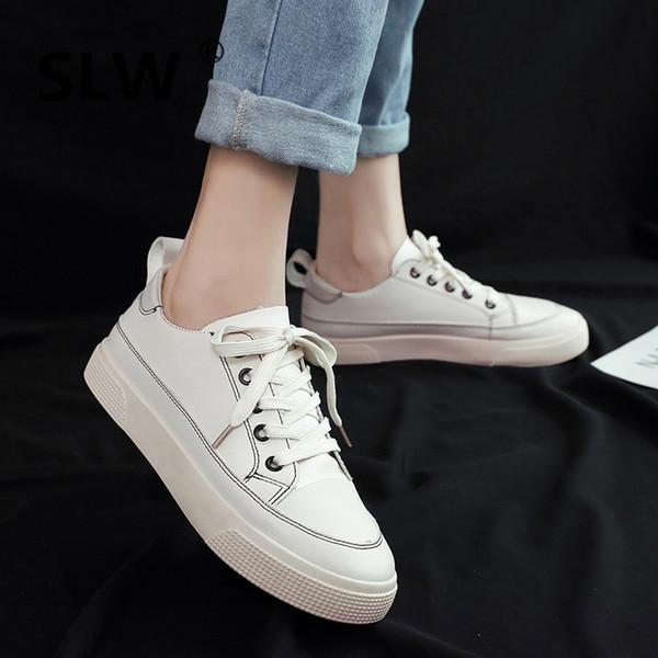Küçük Beyaz Ayakkabı Katı Bale Daireler Platformu Tüm Maç 2019 Moda kadın Bayanlar Ayakkabı Yuvarlak Ayak Creepers Yaz Hemşire