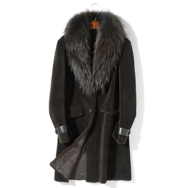 Real Sheep Shearling Fur Coat Winter Jacket Men Raccoon Fur Collar 100% Wool Coats Men's Leather Jacket Chaqueta Hombre MY1689