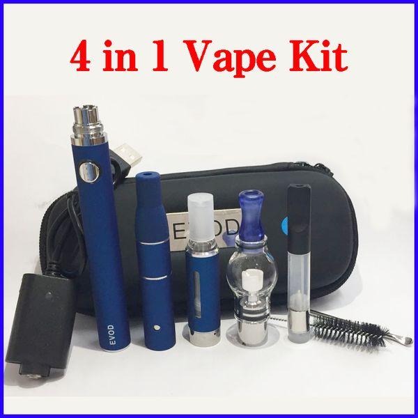 4 in 1 E Cigarette Starter Kit Glass Globe Wax Atomizer Ago G5 Dry Herb Vaporizer Vape Pen Cartridges Dab Pen Ecig Evod Battery Kits