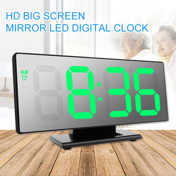LED Mirror Alarm Clock Digital Snooze Table Clock Wake Up Light Electronic Large Time Temperature Display Home Decoration