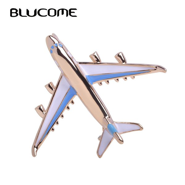 irplane brooch Blucome Cute Little Airplane Brooch Blue Enamel Gold-color Metal Brooches Pin Fighter Aircraft Model Jewelry Suit Clothes ...
