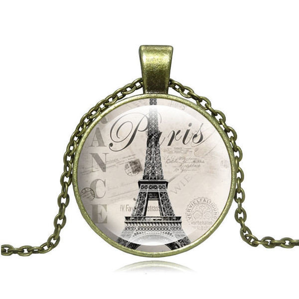 New Fashion Pendant Necklace of 2019 Time gem Glass Necklace Necklace sweater chain of Eiffel Tower