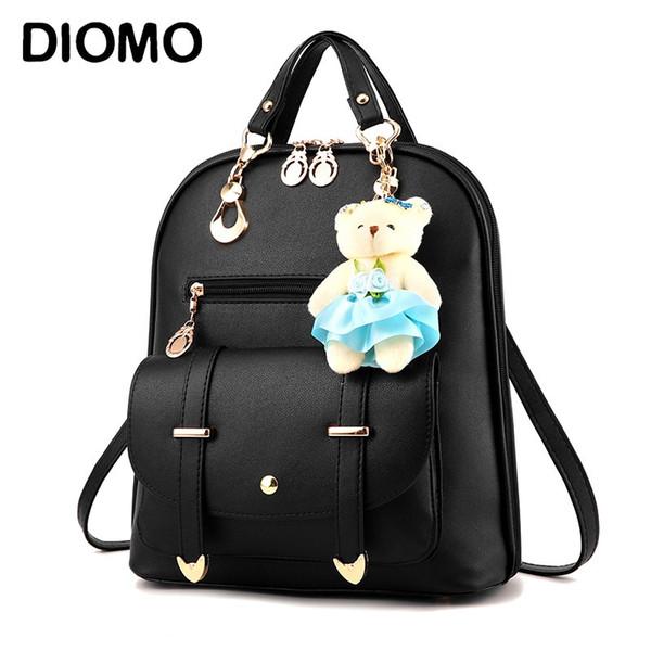 DIOMO Frauen Rucksack Elegante Mode Lässig Niedlich für Mädchen Schultasche Hohe Qualität Pu Leder Bär Anhänger multi-color Optional # 315097