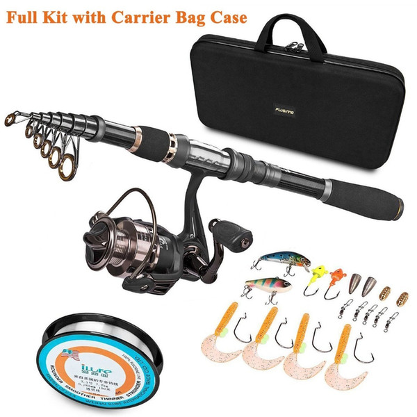 PLUSINNO Telescopic Fishing Rod and Reel Combos FULL Kit, Spinning Fishing Gear Organizer Pole Sets with Lures Hooks Reel