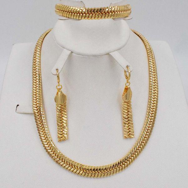 Nuova alta qualità Dubai oro grandi gioielli Set di colore oro nozze nigeriano africani Parure gioielli Parure Bijoux Femme
