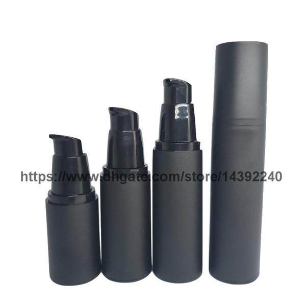 20ml 30ml 40ml 50ml Vuoto tutto nero satinato senz'aria della pompa della lozione bottiglia in PP pompa airless nero Cosmetic bottiglia riutilizzabile airless