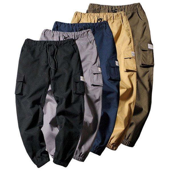 2019 Hombres Pantalones casuales de múltiples bolsillos Pantalones harem masculinos Pantalones de chándal jogger más 5XL Hip Hop Streetwear Algodón de moda Pantalón cargo Y1