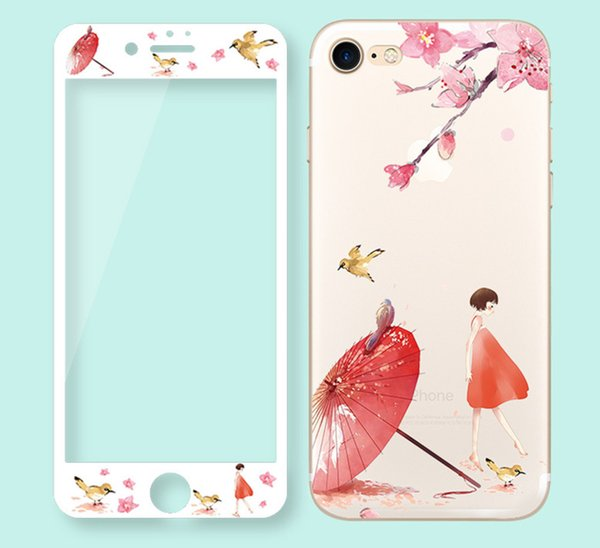 360 Full Cover Phone Case For iPhone 8 7 6 S 6S Plus Tempered Glass Cases With Screen Protector Cute Cartoon TPU Cover