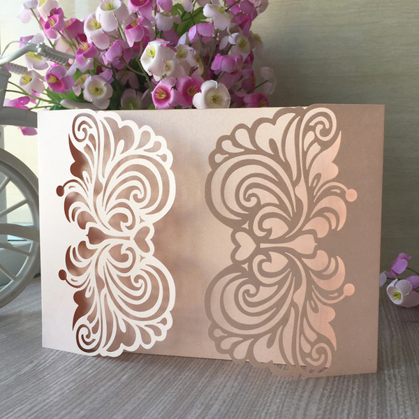 25PCS /lot Hollow Laser Cut Wedding Invitation Card Decoration With Lace Flower Engagements Birthday Party Invitations Supplies