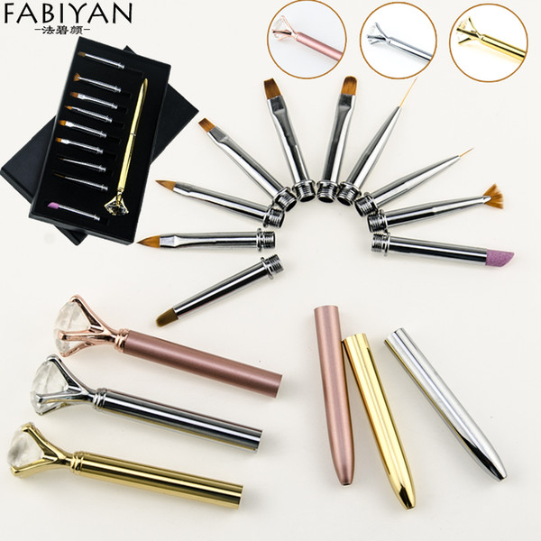 10pcs/Set Nail Art Pen Brush Metal Crystal Replace Heads Carving Cuticle Remover Flat Line Flower Drawing Painting Manicure Tool