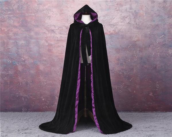 Velvet e nero Viola matrimonio all'aperto Mantello Mantelli cappotto principessa Wedding scialle per accessori sposa Mantello