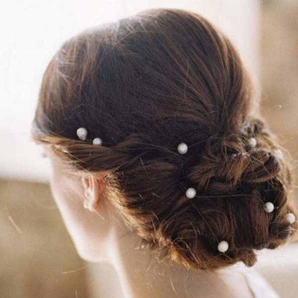 hot girl's white pearl water drill hair clip U - shaped hair fork wedding decoration, bride decoration, hairs tools T2C5041