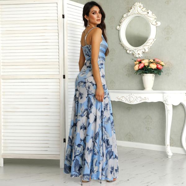Femmes d'été élégant 2019 Fashion Prom Sexy Party Robe longue Imprimer précarisés Floral Enveloppé Tied Side Boho Maxi Dress