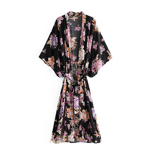Boho Chic Summer 빈티지 새시 꽃 무늬 기모노 블라우스 셔츠 2019 패션 의류 롱 가디건 루스 비치 블라우스 Femme Blusas