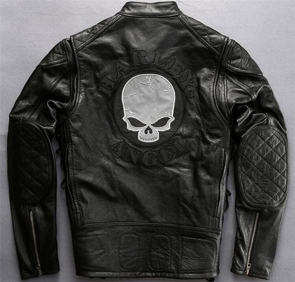Harley Angle Black Herren echte Lederjacken mit Totenkopf Reflektierende Nachtschicht aus Rindsleder Beidseitig beidseitig
