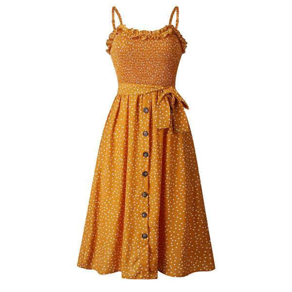 Polka Dot Ruffle Neck Argent Imprimé Mid Calf Bouton Moulantes Robes Mode De Vacances De Mode Jupe Décontractée Nuit Fête Vêtements