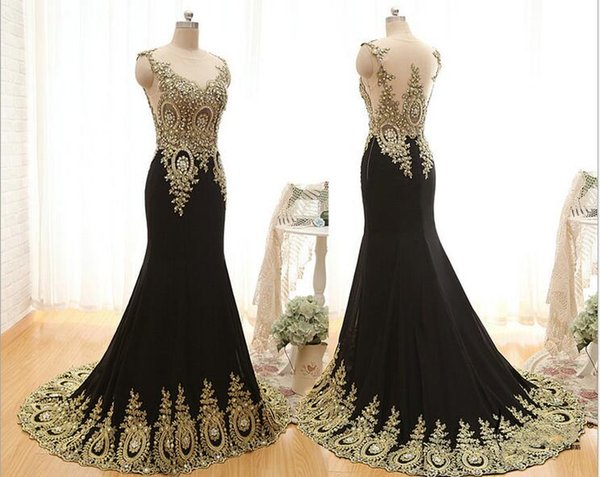New Elegant Arabic Balck Mermaid Evening Dresses With Gold Lace Applique Crystal Beaded Formal Event Wear Sexy Sheer Back Pattern Prom Dress