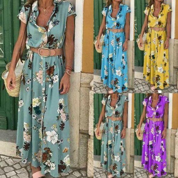 Stylish Hot Sale Women Boho V-neck Button High-waist Belt Floral Print Short Sleeve Long Dress Lady Summer Beach Clothing S-xxl MX190725