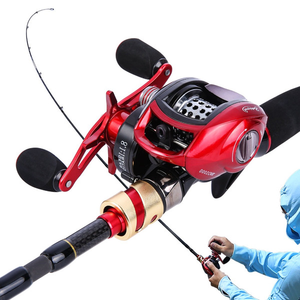 Sougayilang 4 Sections 2.1m Lure Rod and Baitcasting Reel Combo Carbon Sea Spinning Fishing Pole Casting Fishing Rod Wheels Set