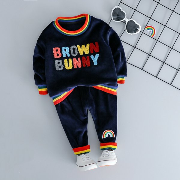 Fashion Clothing for Toddler Boy Girl Outfit Set 2019 Newest Spring Letter Rainbow Children Clothes Suit 1 2 3 4 Years