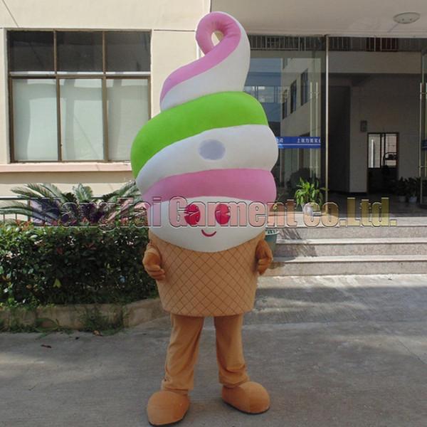 Neues Eiscreme-Maskottchenkostüm Erstklassig deluxe Zeichentrickfigur Kostüme Maskottchenklage Fancy Ice Cream Kleid Partei Karneval-freies Verschiffen