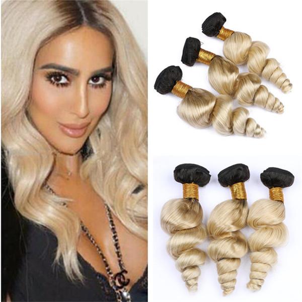 2 Tone 1B/613 Blonde Ombre Virgin Hair Weave Bundles Loose Wave Wavy Dark Roots Platinum Blonde Ombre Human Hair Extensions 300g