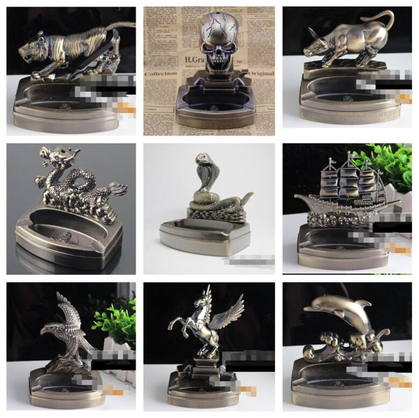Fashion Tiger Skull Cattle Dragon Shaped Flame Lighters Metal Smoking Cigarette Lighters No Gas With Ashtray Decoration 3 Functions 9 Styles