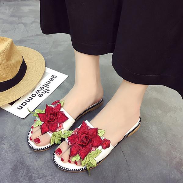 Moda Eğlence Kadın Terlik Dışında Düşük Düz Slaytlar Ile Yaz Slip-On Rahat Dikiş Çiçek Kadın Ayakkabı