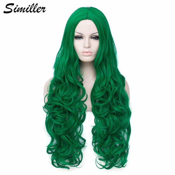 similler long synthetic wigs for women cosplay dark green curly hair high temperature fiber with wig cap, Black