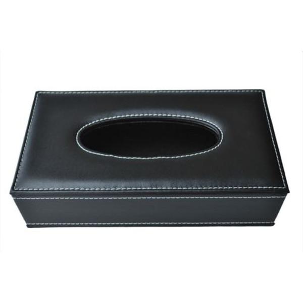 Funda de piel sintética Caja de pañuelos de plástico Organizador de almacenamiento Caja de pañuelos nórdicos Funda para decoración del hogar Negro wh1023