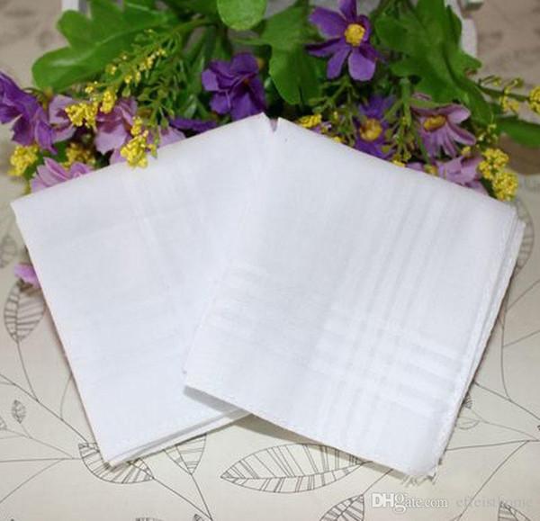 Comercio al por mayor 40 * 40 CM Pañuelos de bolsillo 100% algodón tabla de satén macho tira pañuelo pañuelo cuadrado blanco envío gratis