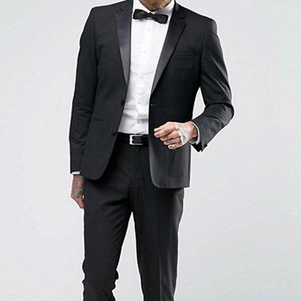 Siyah Tek Breasted Düğün Mens Slim Fit Çentikli Yaka İki Adet Blazer Özel Business Damat smokin ceket Pantolon Takımları